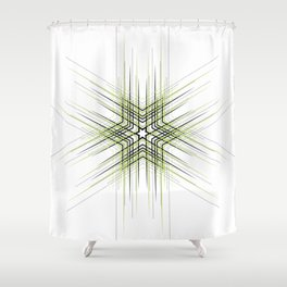 Green Nordic star with fine geometric lines pattern Shower Curtain