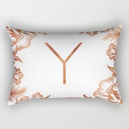 Letter Y - Faux Rose Gold Glitter Flowers Rectangular Pillow