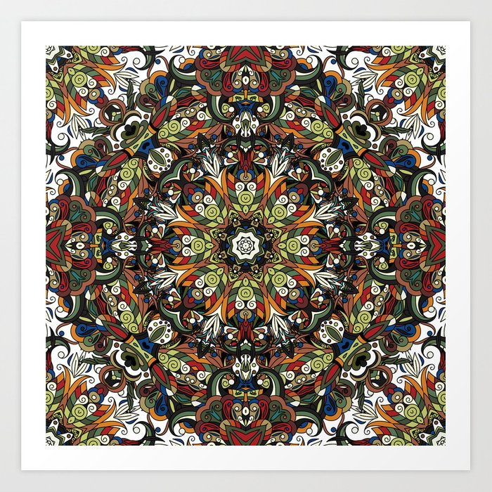 Boho Geometric Mandela Pattern 1 Art Print
