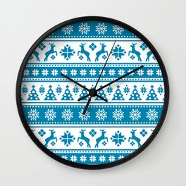 Christmas Holiday Nordic Pattern Cozy Wall Clock