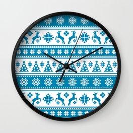 Christmas Holiday Nordic Pattern Cozy Wall Clock