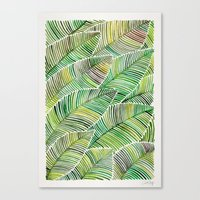 tropical Canvas Prints featuring Tropical Green by Cat Coquillette