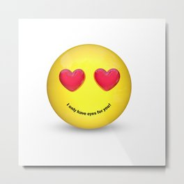 Emoji with Heart Eyes Metal Print