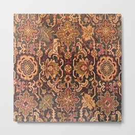 Floral Medallion IV // 18th Century Colorful Blue Lime Green Pink Sapphire Plum Burlap Brown Pattern Metal Print