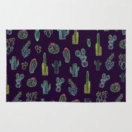 Dark Watercolour Cactus Rug