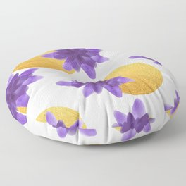 Reassurance // Violet Watercolor Flowers and Gold Spots Floor Pillow