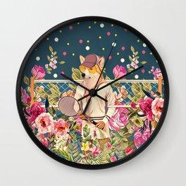 Corgi tennis Wall Clock