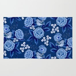 Roses and Birds in blue Rug