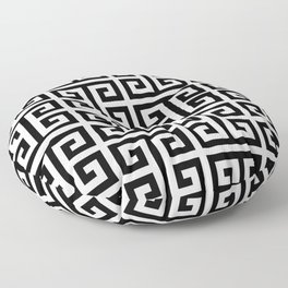 Large Black and White Greek Key Pattern Floor Pillow
