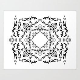 Abstract black ornament Art Print