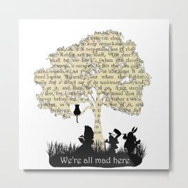 We're All Mad Here II - Alice In Wonderland Silhouette Art Metal Print
