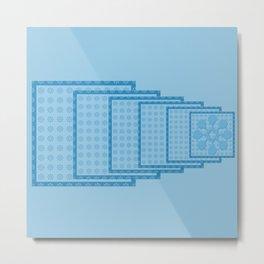 Blue Blocks big to Small Metal Print