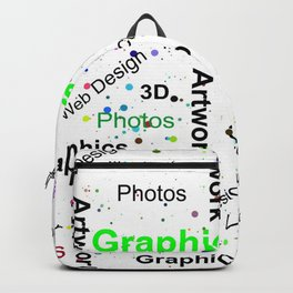 Modern abstract black white colorful splatters typography Backpack