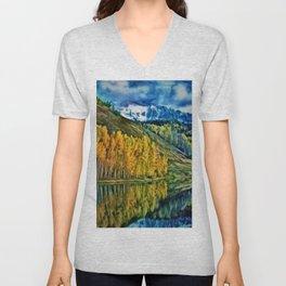 Western Rockies Aspen Forest & Lake Landscape by Jeanpaul Ferro Unisex V-Neck