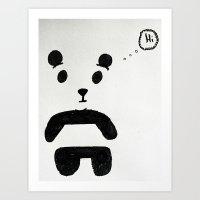 """Panda says """"Hi"""" Art Print"""