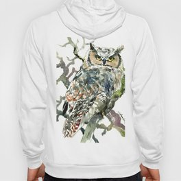 Great Horned Owl in Woods, woodland owl Hoody