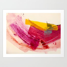 Pink Lemonade: a minimal, colorful abstract mixed media with bold strokes of pinks, and yellow Art Print