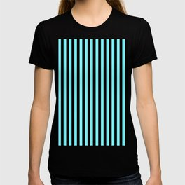 Electric Blue and Black Vertical Stripes T-shirt
