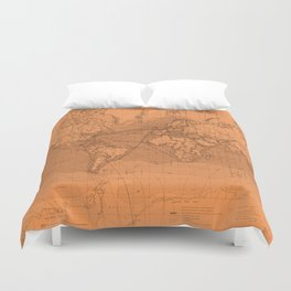 World Surface Routes in Brown Duvet Cover