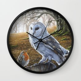 The Owl and the Robin - Acrylic Painting Wall Clock