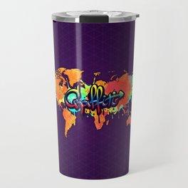 Graffiti Art Vivid Watercolor World Map Travel Mug