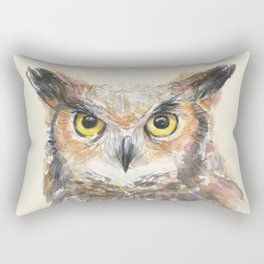 Owl Great Horned Owl Watercolor Rectangular Pillow