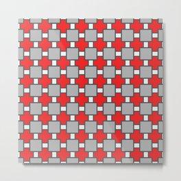 Vinho Tinto Red Square Portuguese Azulejo Tile Pattern Metal Print