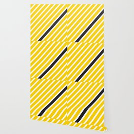 Diagonal lines yellow with 1 black line Wallpaper