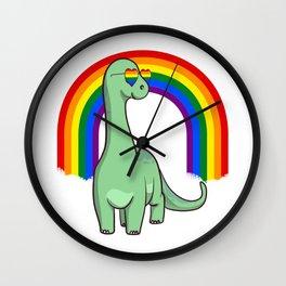 Brontosaurus Dinosaur Gay Pride Rainbow LGBTQ Wall Clock