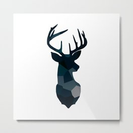 Blue Geometric Stags Antlers Metal Print