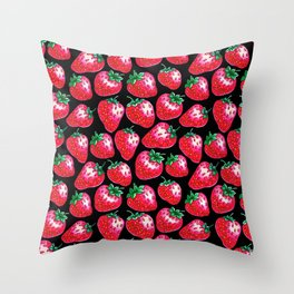 Red Strawberry pattern on black Illustration Throw Pillow