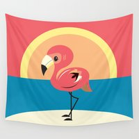 flamingo Wall Tapestries featuring Flamingo by Steph Dillon