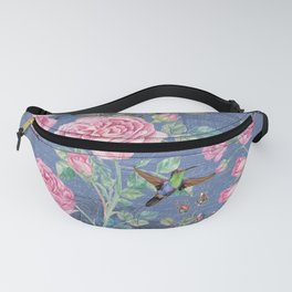 Vintage Watercolor hummingbird and English Roses on blue Background Fanny Pack