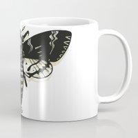 moth Mugs featuring Moth by Nick Rissmeyer
