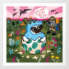 What Came First The Pug Or The Egg? Art Print