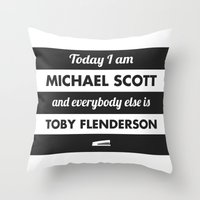 michael scott Throw Pillows featuring Today I am Michael Scott by The LOL Shop