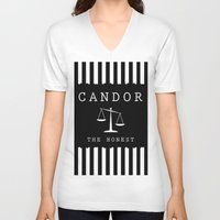 divergent V-neck T-shirts featuring CANDOR - DIVERGENT by MarcoMellark