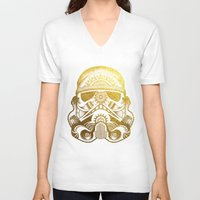 gold foil V-neck T-shirts featuring Mandala StormTrooper - Gold Foil by Spectronium - Art by Pat McWain