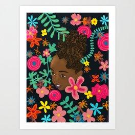 Beautiful black girl adorned with flowers Art Print