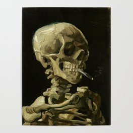Skull of a Skeleton with Burning Cigarette by Vincent van Gogh Poster