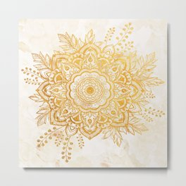 Queen Starring of Mandala-Gold Sunflower II Metal Print