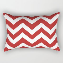 Firebrick - red color - Zigzag Chevron Pattern Rectangular Pillow