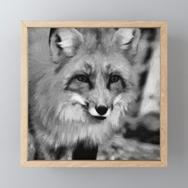 red fox dog abstract digital oil painting canvas black white Framed Mini Art Print