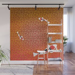 Colored carp with the Japanese pattern (cloud arabesque) Gold and Deep red color Wall Mural