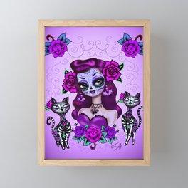 Purple Sugar Skull Girl Framed Mini Art Print