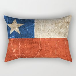 Vintage Aged and Scratched Chilean Flag Rectangular Pillow