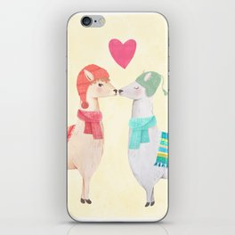 Llamas In Love iPhone Skin