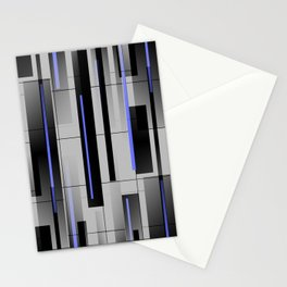 Off the Grid Blue - Abstract - Gray, Black, Blue Stationery Cards