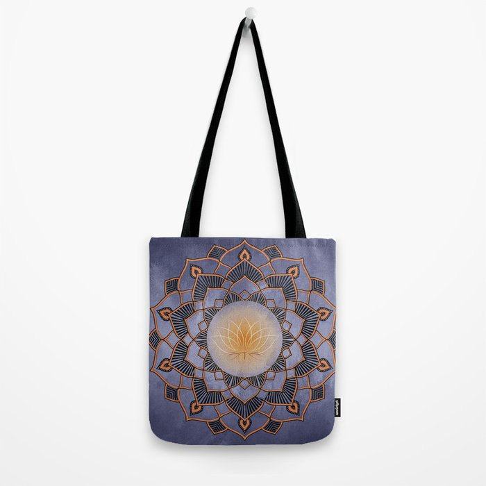 Orange Lotus Flower Mandala On A Textured Blue Background Tote Bag