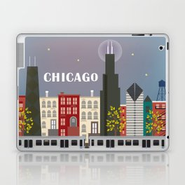 Chicago, Illinois - Skyline Illustration by Loose Petals Laptop & iPad Skin